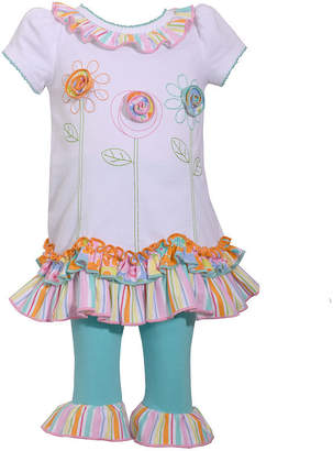 Bonnie Jean 2-pc Short Sleeve Flowers Ruffle Pant Set Baby Girls
