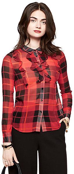 Woodland plaid crinkle chiffon blouse