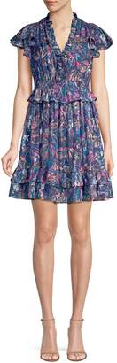 Rebecca Taylor Flutter Sleeve Leaf Print Mini Dress