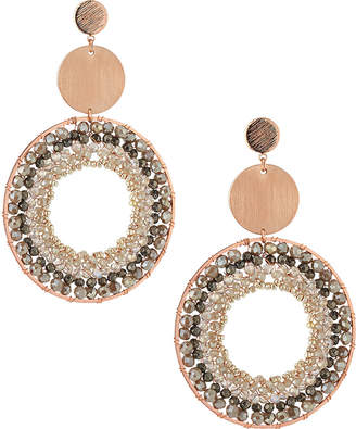 Nakamol Disc & Crystal Hoop Drop Earrings