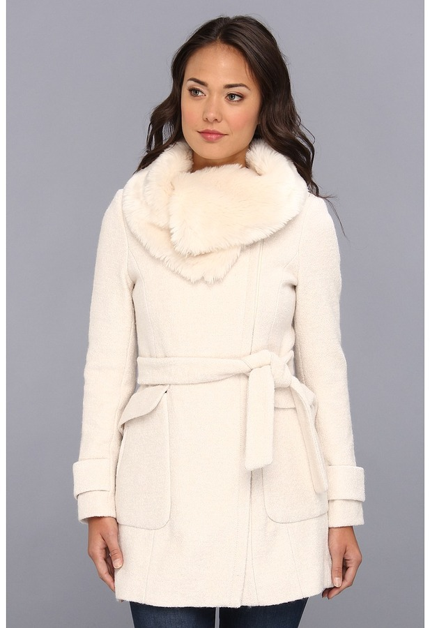 Ivanka Trump Belted Wool Coat w/ Faux Fur Collar (Snow White) - Apparel