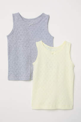 H&M 2-pack Jersey Tank Tops - Yellow