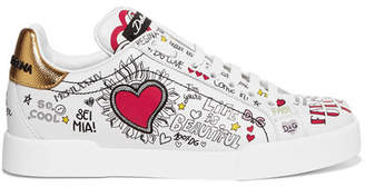 Dolce & Gabbana Printed Leather Sneakers - White