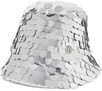 Maison Michel Souna Paillette-embellished Tulle Bucket Hat - Silver