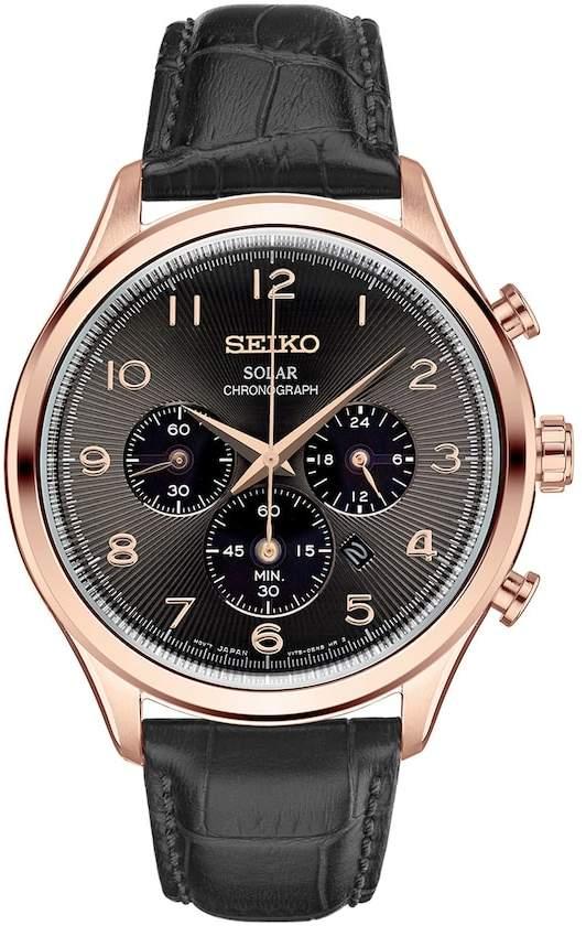 SeikoSeiko Men's Classic Leather Solar Chronograph Watch - SSC566
