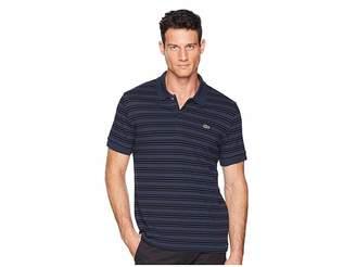 Lacoste Short Sleeve Regular Fit Petit Pique Polo w/ Fine Stripes Men's Clothing