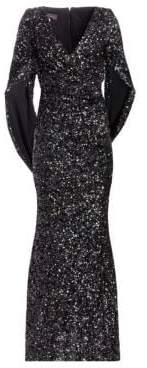 Talbot Runhof Sequin Cape Gown