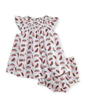 Stella McCartney Sage Smocked Watermelon Dress w/ Bloomers, White, Size 12-24 Months $100 thestylecure.com