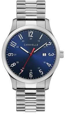 Bulova CARAVELLE Designed by Caravelle Men's Silver-Tone Expansion Band Watch - 43B161