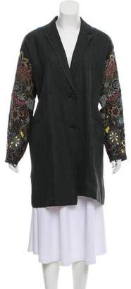 Dries Van Noten Linen Embroidered Coat