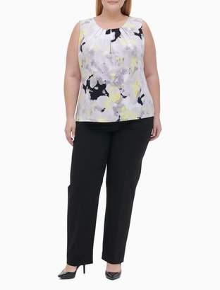 Calvin Klein Plus Size Flower Print Pleat Neck Sleeveless Top