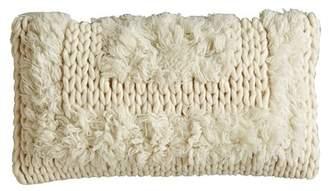 "Creative Co-op Faux Fur Trimmed Natural Pillow - White - 22""x12\"""