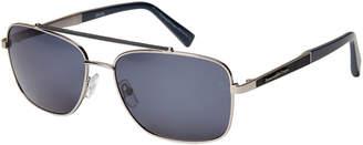 Ermenegildo Zegna EZ0036 Silver-Tone & Navy Navigator Sunglasses