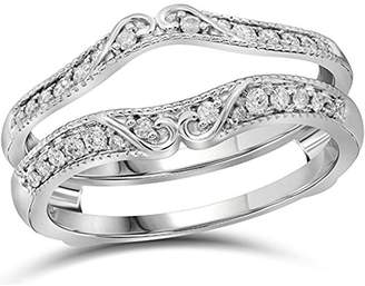 tusakha 925 Sterling Silver Plated 3/4ctw Round Simulated Diamond Enhancer Wedding Ring Wrap Solitaire Guard