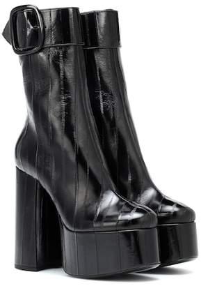 Saint Laurent Billy eel-skin plateau ankle boots