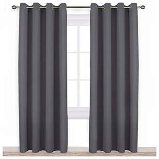 NICETOWN Blackout Curtains Panels for Bedroom - Three Pass Microfiber Noise Reducing Thermal Insulated Solid Ring Top Blackout Window Drapes (Two Panels
