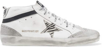 Golden Goose Mid Star Distressed Leather, Suede And Zebra-print Pony Hair Sneakers - White