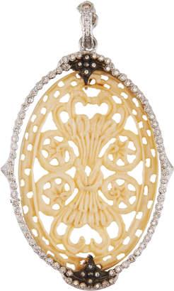 Armenta New World Diamond & Bone Oval Pendant