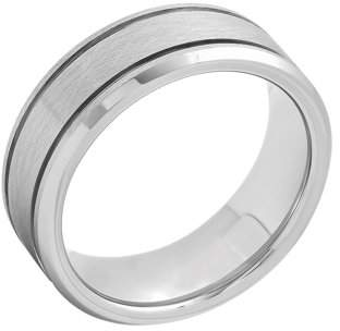 Unbranded Mens Tungsten Frozen Finish Grooved Wedding Band Mens Ring
