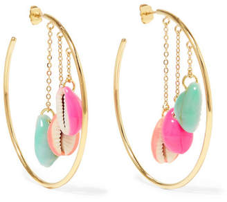 Aurelie Bidermann Gold-plated Enameled Shell Hoop Earrings