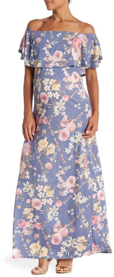 PinkBlush Maternity Floral Off Shoulder Maxi Dress (Maternity)