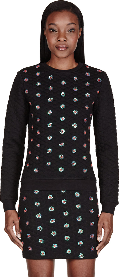 Opening Ceremony Black Embellished Sparrow Sweatshirt
