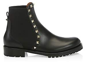 Valentino Women's Beatle Rockstud Leather Ankle Boots