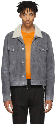 Yves Salomon Blue Suede and Shearling Jacket