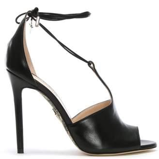 Cesare Paciotti Black Leather Ankle Tie T Bar Sandals