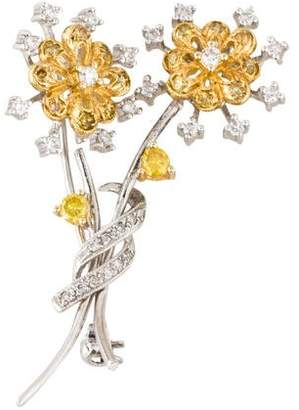 18K Two Tone Floral Brooch