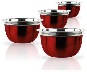 Imperial Home 4 Piece Red Stainless Steel Bowl Set