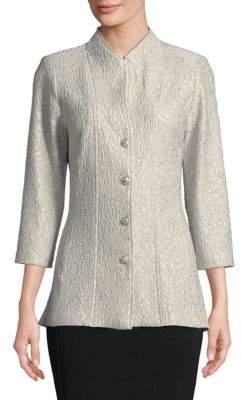 Alex Evenings Plus Three-Quarter Sleeve Textured Hi-Lo Jacket