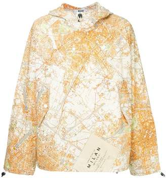 MSGM map print hoodie