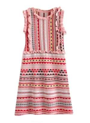 Goodnight Macaroon 'Mya' Aztec Pattern Ruffle Knitted Midi Dress