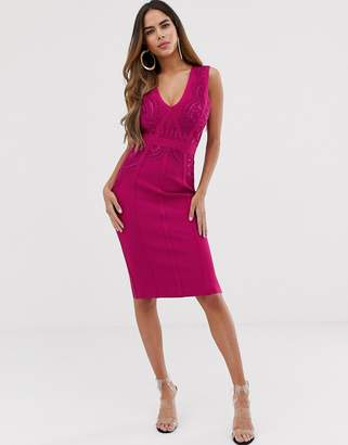 Lipsy lace bandage dress in pink