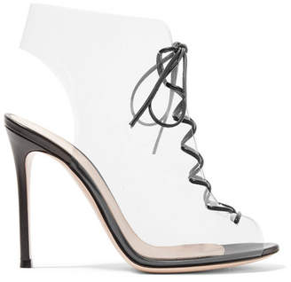 Gianvito Rossi Helmut Plexi 100 Lace-up Pvc And Leather Ankle Boots - Clear