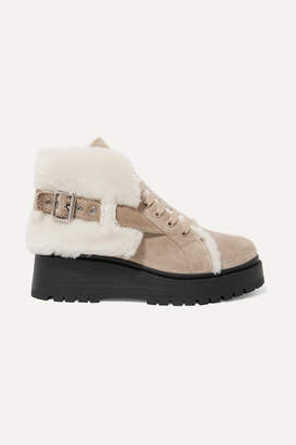 Miu Miu Shearling-lined Suede Ankle Boots - Sand