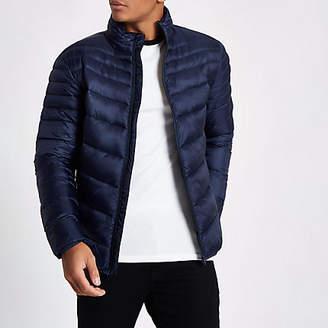 River Island Navy zip front funnel neck puffer jacket