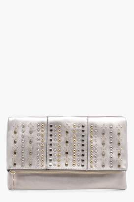 boohoo Lindsay Stud Flap Clutch Bag
