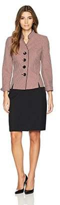 Le Suit Women's Petite Tweed 4 Button Inverted Notch Collar Skirt