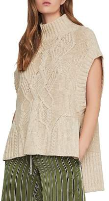 BCBGMAXAZRIA High/Low Cable-Knit Sweater