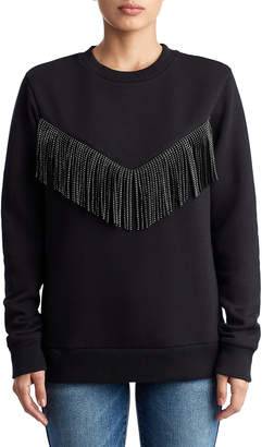 True Religion WOMENS EMBELLISHED FRINGE PULLOVER SWEATSHIRT