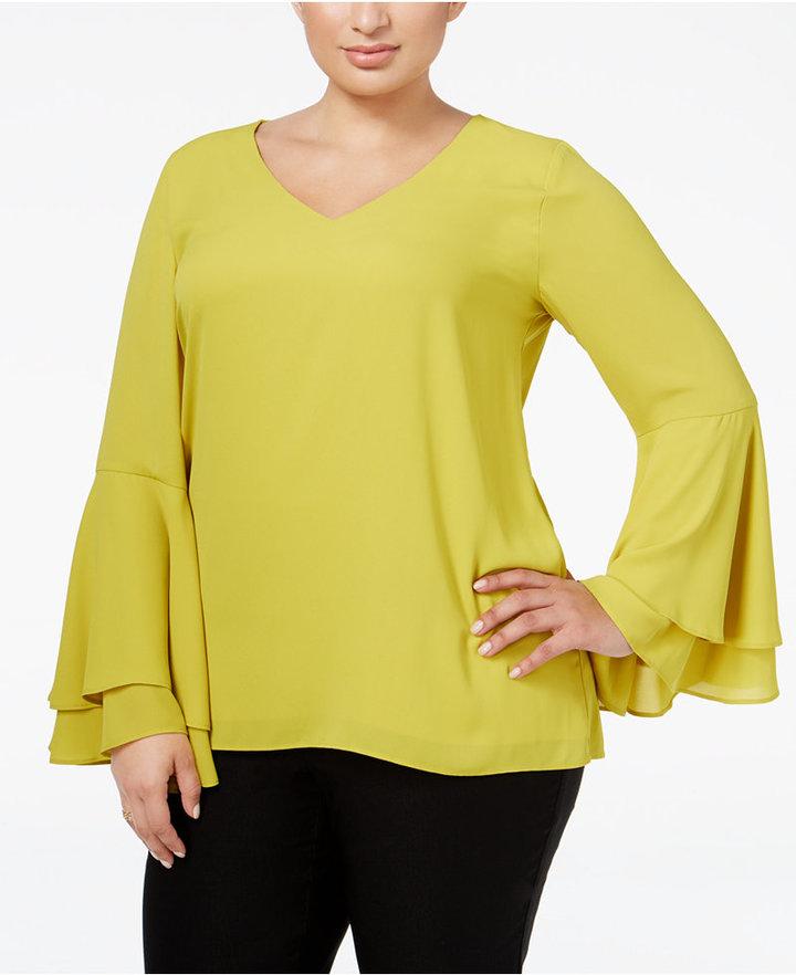 AlfaniAlfani Plus Size Bell-Sleeve Blouse, Only at Macy's