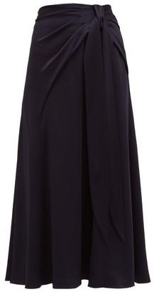 Peter Pilotto Tie Front Hammered Satin Skirt - Womens - Navy