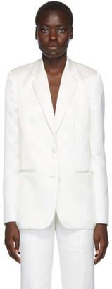 Helmut Lang White Heavy Satin Two-Button Blazer