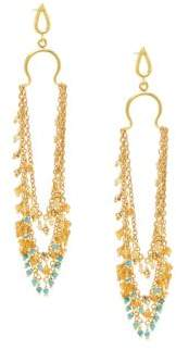 Azaara 22K Goldplated Sterling Silver & Multi-Stone Drop Earrings