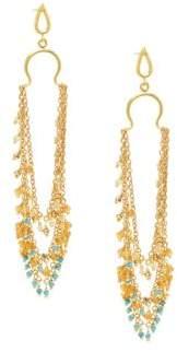 Azaara22K Goldplated Sterling Silver & Multi-Stone Drop Earrings