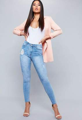 Missguided Light Blue High Waist Distressed Skinny Jeans