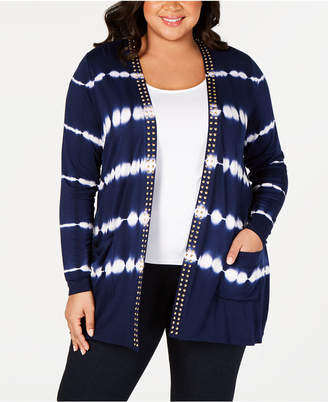 dacc1837185ea Belldini Black Label Plus Size Tie-Dyed Striped Open-Front Cardigan