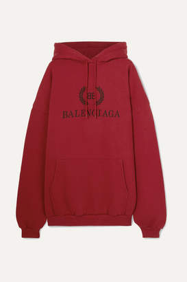 Balenciaga Oversized Printed Cotton-jersey Hoodie - Red